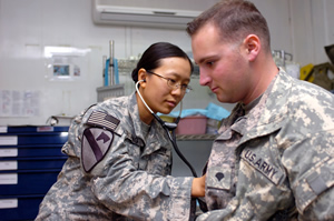 Army physician and patient