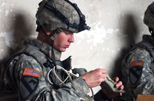 Soldier eating rations